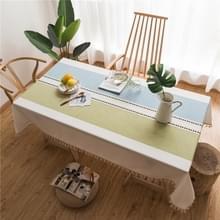 Rechthoek katoen linnen kwasten dining tafelkleed bruiloft partij keuken huis decoratie tabel cover  grootte: 140x140cm (blauw groene rechte lijn)