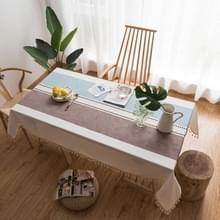 Rechthoek katoen linnen kwasten dining tafelkleed bruiloft partij keuken huis decoratie tabel cover  grootte: 140x220cm (koffie blauw)