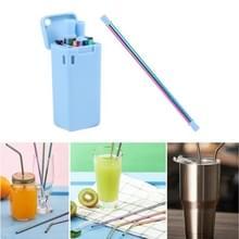 Draagbare opvouwbare opvouwbare herbruikbare verblindende kleuren roestvrij staal drinken stro buiten huishouden drinkgereedschap set (blauw)