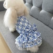 Pet Kleding Lente en Zomer Katoen Kleine Hond Princess Pet Rok  Grootte: XL (Blue Maple Leaf)