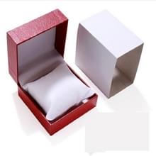6 PCS PU Lederen Watch Box Custom-made High-end flip Watch Box Sieraden Gift Verpakking (Rood binnenwit plastic doos)