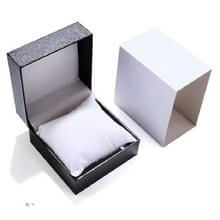 6 PCS PU Lederen Watch Box Custom-made High-end flip Watch Box Sieraden Gift Verpakking (Zwart binnenwit plastic doos)