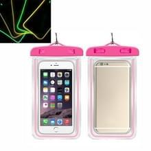 5 PCS TPU Fluorescerende Lichtgevende Touch Screen Waterdichte mobiele telefoon tas geschikt voor mobiele telefoons onder 6 inch (Rose Red)