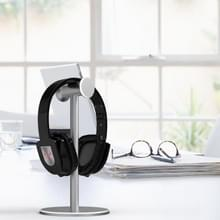 Hoofd gemonteerde metalen oortelefoonhouder Internet Cafe Desktop Display Stand (Zilvergrijs)