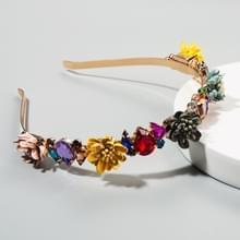 Stof Flower Crown hoofdband Vrouwelijke Super Flash Set Glas Diamond Catwalk Bruidshoofdband (Powder Gray)