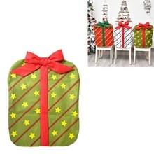 Kerstversiering Bownot Gift Bag Stoel Cover Christmas Day Restaurant Home Cartoon Chair Back Cover (Groen gedrukt vijf-sterren boog)