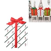 Kerstversiering Bownot Gift Bag Stoel Cover Christmas Day Restaurant Home Cartoon Stoel Terug Cover (Wit gedrukte rieten boog)