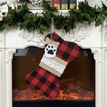 Kerstversiering kerstsokken Gift Bags Bones Huisdieren Hangers (Red Black Grid)