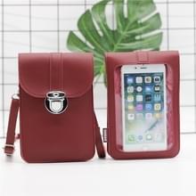 Lock Buckle Messenger PU Lederen Touch Screen mobiele telefoon tas voor mobiele telefoons onder 6 5 inch (rood)