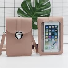 Lock Buckle Messenger PU Lederen Touch Screen mobiele telefoon tas voor mobiele telefoons onder 6 5 inch (roze)