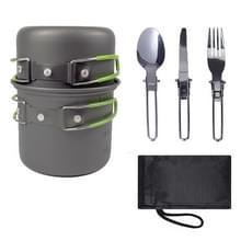 Outdoor Camping Portable Cookware 1-2 personen Servies Combo Set (Groen)