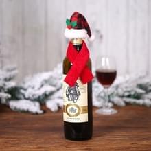6 PCS Kerst Creatieve Decoraties Scarf Hat Wine Bottle Cover Hotel Restaurant Decoratie (B239 Plaid Hat Red Sjaal )