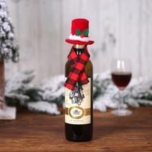 6 PCS Kerst Creatieve Decoraties Scarf Hat Wine Bottle Cover Hotel Restaurant Decoratie (B238 Red Hat Plaid Sjaal )