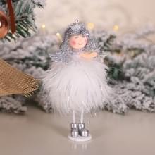 2 PCS kerstversiering Zilveren Zijde Pluche Staande Doll Window Sneeuwpop decoratie (TS43 Angel)
