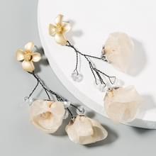 2 paren Mesh Flower Oorbellen Vrouwelijke Legering Crystal Kraal lange kwast bloem oorbellen (Wit)