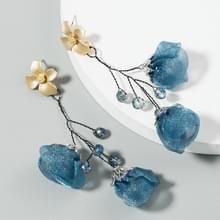 2 paren Mesh Flower Oorbellen Vrouwelijke Legering Crystal Kraal lange kwast bloem oorbellen (Blauw)