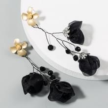 2 paren Mesh Flower Oorbellen Vrouwelijke Legering Crystal Beaded Lange Kwast Bloem Oorbellen (Zwart)