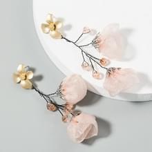 2 paren Mesh Flower Oorbellen Vrouwelijke Legering Crystal Kraal lange kwast bloem oorbellen (Roze)