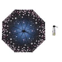 Anti-ultraviolet sunshade sun umbrella compact en draagbare titanium zilveren plastic zonneparaplu (vallende kersenbloesems)