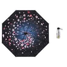 Anti-ultraviolet sunshade sun umbrella compact en draagbare titanium zilveren plastic parasol (Spiral Sakura)