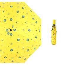 Student Vinyl zonnebrandcrème kleine verse paraplu vouwen automatische paraplu  stijl: negen multiplex (geel )