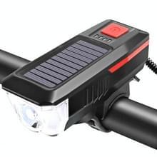 Fiets Zonnekoplamp Horn Light Night Riding USB Opladen koplamp Fiets Schittering Zaklamp Equipment (Rood)