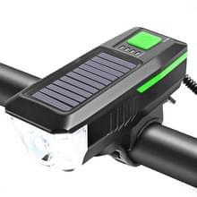 Fiets Zonnekoplamp Horn Light Night Riding USB Opladen koplamp Fiets Schittering Zaklamp Equipment (Groen)