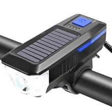 Fiets Zonnekoplamp Horn Light Night Riding USB Opladen koplamp Fiets Schittering Zaklamp Equipment (Blauw)