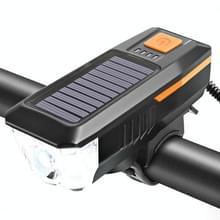 Fiets Zonnekoplamp Horn Light Night Riding USB Opladen koplamp Fiets Schittering Zaklamp Equipment (Oranje)