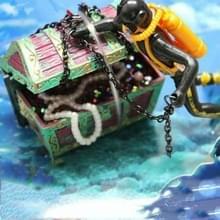 Pneumatische Aquarium Decoratie Diver Treasure Hunt Frogman Aquarium Fish Tank Landscape (Zwart)