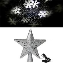 LED Kerstboom Top Star Projectie Lamp Blizzard draaibare projectie licht  Plug Type: EU Plug (Zilver)