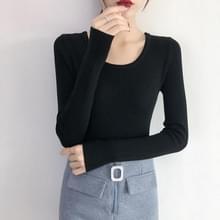 Vrouwen herfst en winter lange mouwen gebreide trui  maat: One Size (Zwart)