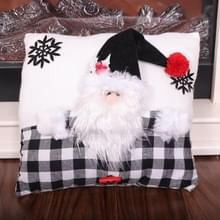 Creative Black White Grid Cartoon Kerstkussen (Santa Claus)