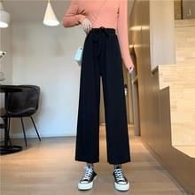 Herfst Hoge taille los laken Straight Casual Wide-leg Broek  Grootte: XL (Zwart)