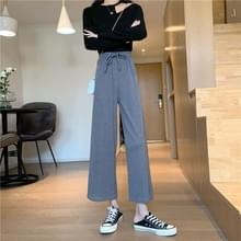 Herfst Hoge taille los laken Straight Casual Wide-Leg Broek  Grootte: XL (Grijs)