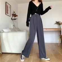 Hoge taille afslank casual losse losse all-match effen kleur pak broek vrouwen wijde broek broek  grootte: L (Grijs)