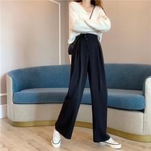 Hoge taille afslank casual losse losse all-match effen kleur pak broek vrouwen wijde broek broek  grootte: L (Zwart)