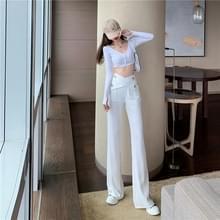 Herfst onregelmatige design zin breed-been high-waist pak broek dweilen broek  grootte: M (Wit)