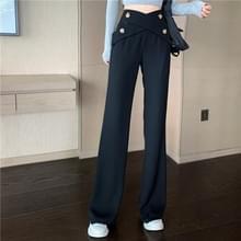 Herfst onregelmatige design zin breed-been high-waist pak broek dweilen broek  grootte: M (Zwart)