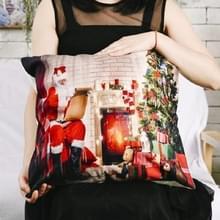 4 PCS kerstornamenten Flannel Pillowcase Afdrukken Vierkante kussensloop zonder Pillow Core (Santa Claus Open haard)