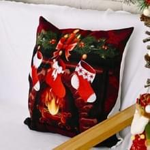 4 PCS kerstornamenten Flannel Pillowcase Afdrukken Vierkante kussensloop zonder pillow core (kerstsokken)