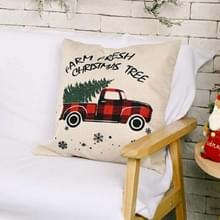 4 PCS kerstversiering linnen kussenslopen vierkante kussenslopen zonder pillow core (rode en zwarte auto)