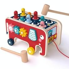 Baby Percussie Houten Olifant Drag Cart Hitting Hamster Kinderen Educatief Speelgoed (Rood)