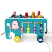 Baby Percussie Houten Olifant Drag Cart Hitting Hamster Kinderen Educatief Speelgoed (Blauw)