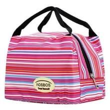 Mode draagbare geïsoleerde canvas lunchzak thermische voedsel picknicklunch tassen (krijtstreep)