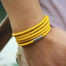 Paar lederen armband mannen charme Vintage zwarte armband (geel)