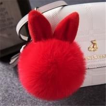 Bont pom sleutelhangers nep konijn Fur Ball sleutelhanger (rood)
