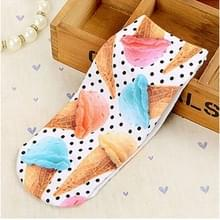 3Pairs 3D patroon korte gedrukte sokken cartoon rechte Dames zomer boot sokken (ijs)