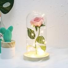 Simulatie rozen lichten glazen cover decoraties ambachten valentines dag geschenken (roze)