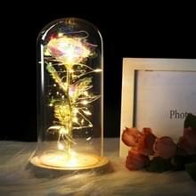 Simulatie rozen lichten glazen cover decoraties ambachten valentines dag geschenken (heldere kleur)